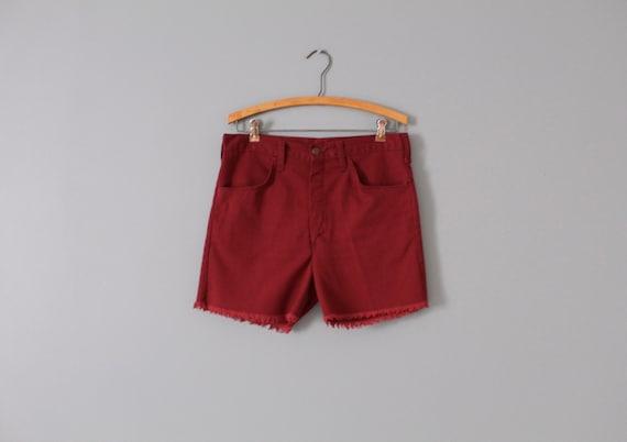 MERLOT red shorts | 1970s fringed shorts | merlot