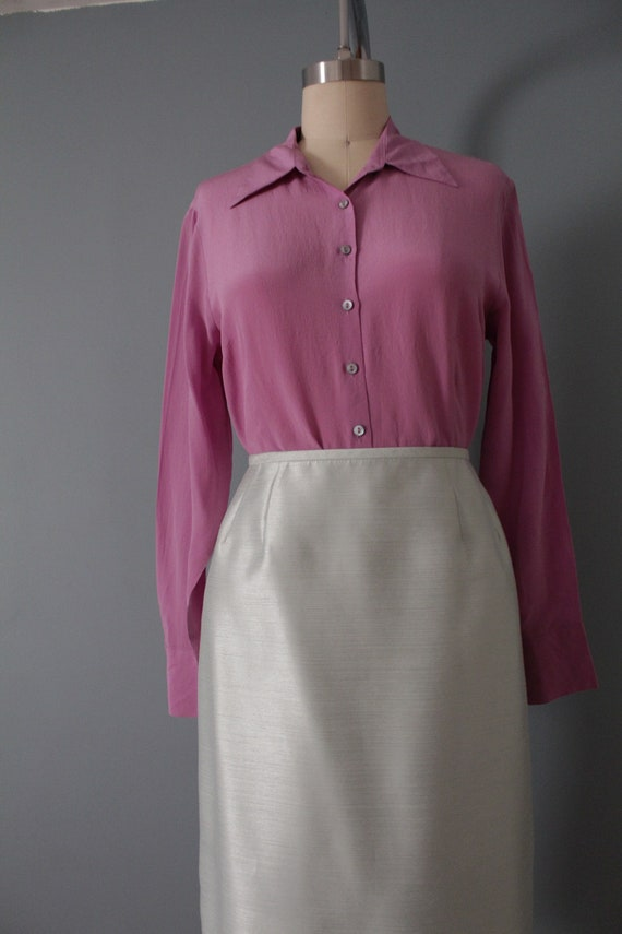 LILAC silk blouse | 1940s inspired silk top | min… - image 5