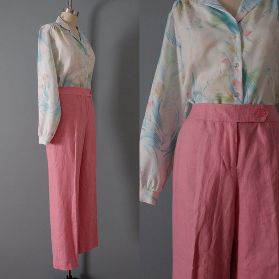 ROSE pink linen trousers   flared sailor pants   … - image 7