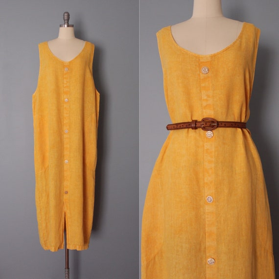 GOLDENROD linen dress | artist linen dress | overs