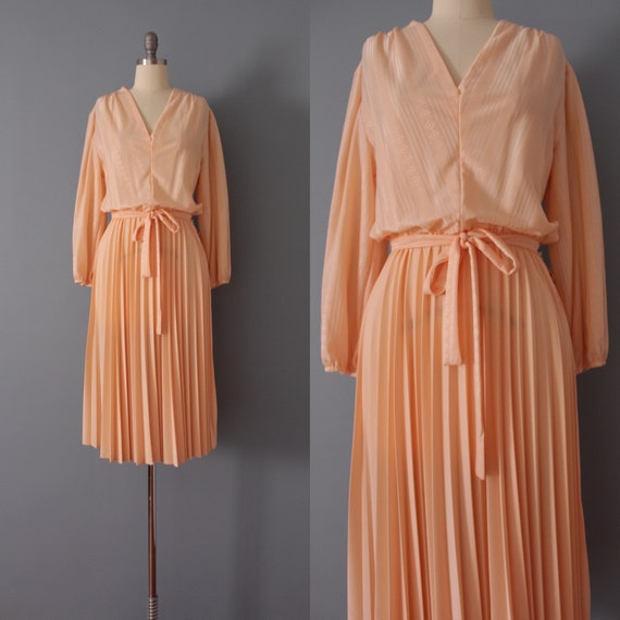 PEACH belted dress | pleated day dress | bell slee