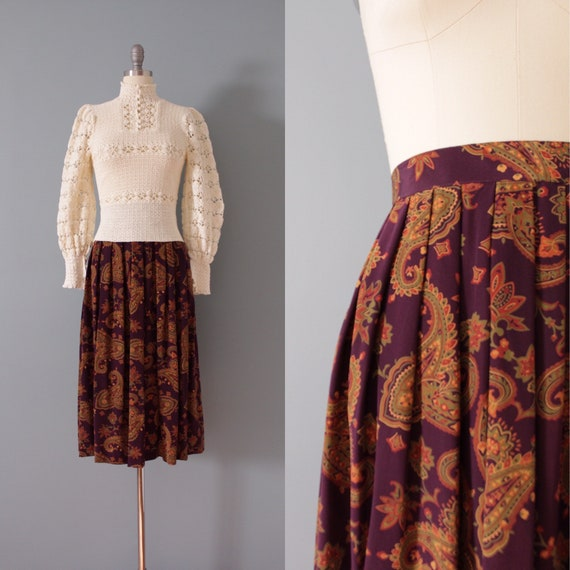 MERLOT silk skirt | paisley silk skirt | pleated s