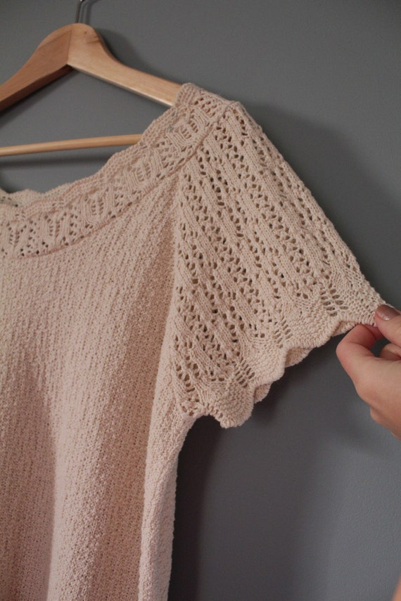 DROP shoulders knitted top | cream beige cotton t… - image 6