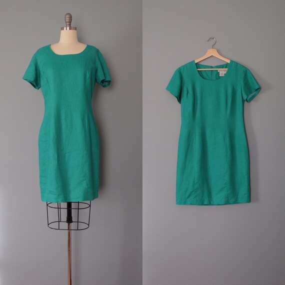 MINT green linen dress | 1990s linen dress | mint