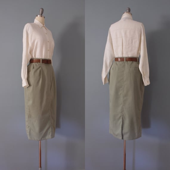SAGE green maxi skirt | belted cotton skirt | 197… - image 7