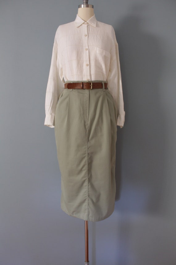 SAGE green maxi skirt | belted cotton skirt | 197… - image 2