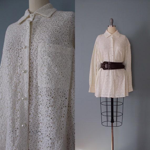 LACE tunic blouse | vanilla cotton lace blouse | l