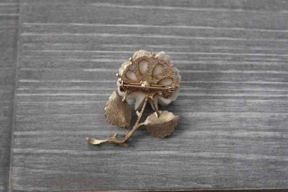 CREAM rose brooch | budding rose brooch | 1970s r… - image 9