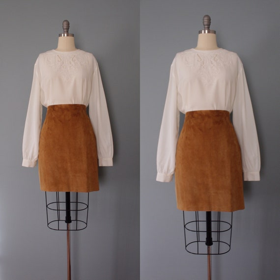 AUBURN suede skirt | new old stock mini skirt | su