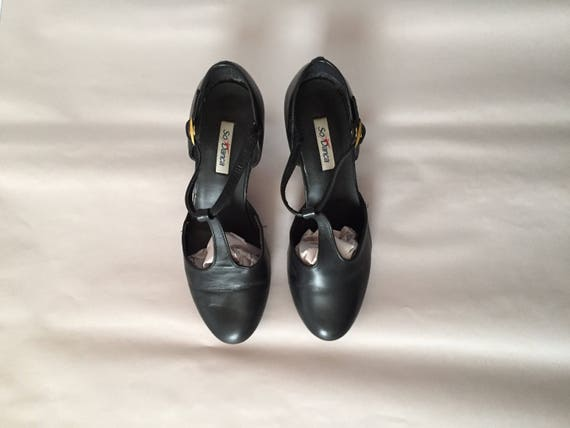 antiqued bar mary janes janes T 8 leather mary T heels strap black wqFx0tYB