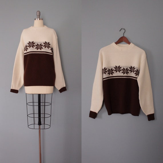 FAIR ISLE pullover sweater   coffee and cream pull