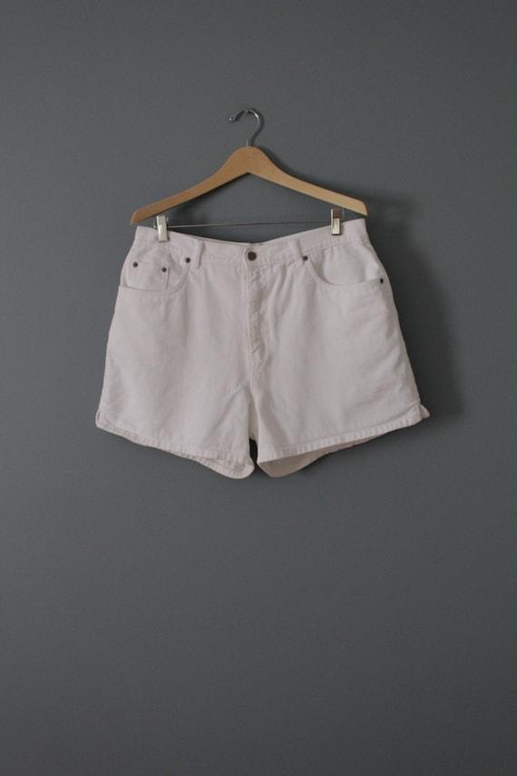 HALSTON denim shorts | chalk white denim shorts |
