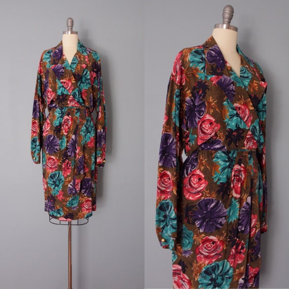 AUTUMNAL silk dress | dark botanical silk dress |