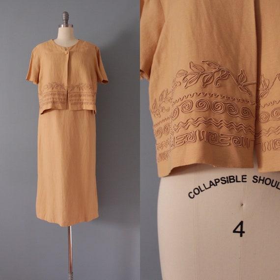 CLAY linen dress set | soutache crop top and dress