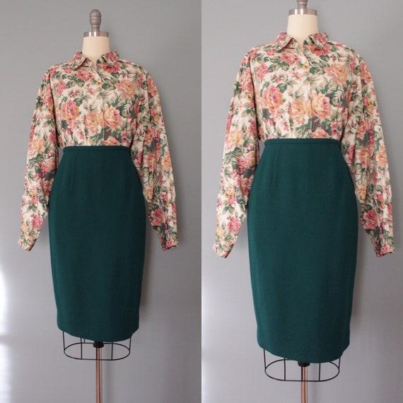 PINE green pencil skirt | wool pencil skirt | wool