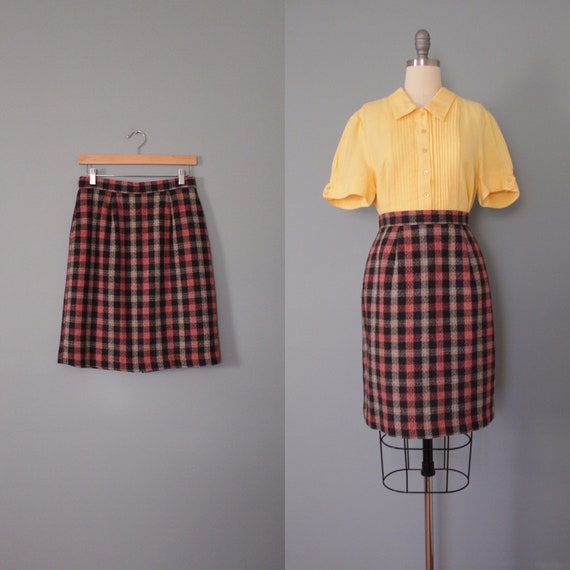 checkered tartan skirt | 1990s mini wool skirt | r