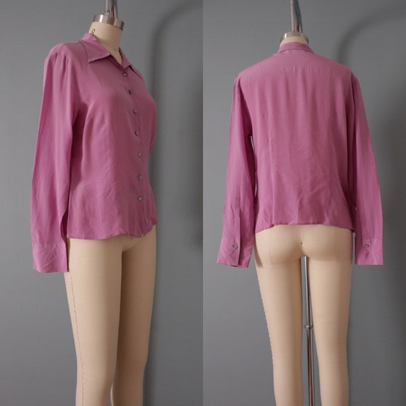 LILAC silk blouse | 1940s inspired silk top | min… - image 10
