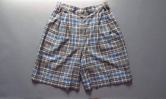 PASTEL plaid linen shorts