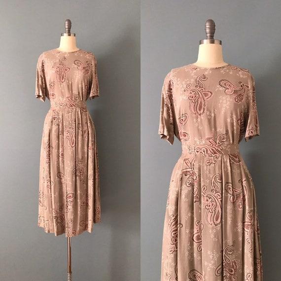 sage tan and pink clay set | paisley print skirt s