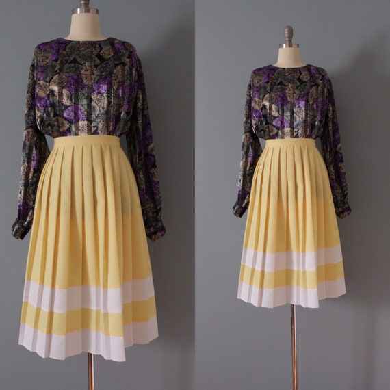LEMON pleated skirt | 1970s accordion midi skirt |