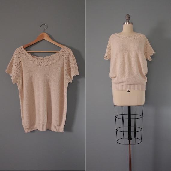 DROP shoulders knitted top | cream beige cotton t… - image 1