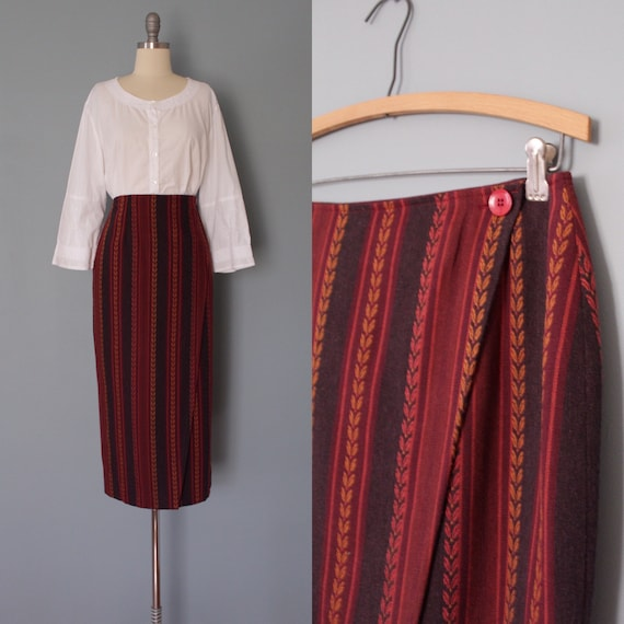WHEAT ornament wrap skirt | 1990s The Limited skir