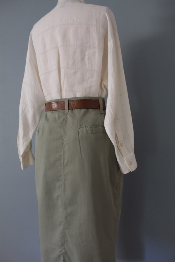 SAGE green maxi skirt | belted cotton skirt | 197… - image 8