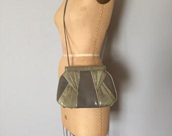 Giani Bernini cloudy grey leather purse   snake skin bag