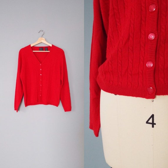 fire red soft cardigan | cable knit cardigan