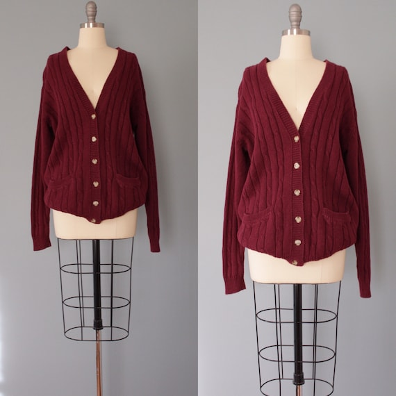 MERLOT grandpa cardigan | cable knit cotton cardig