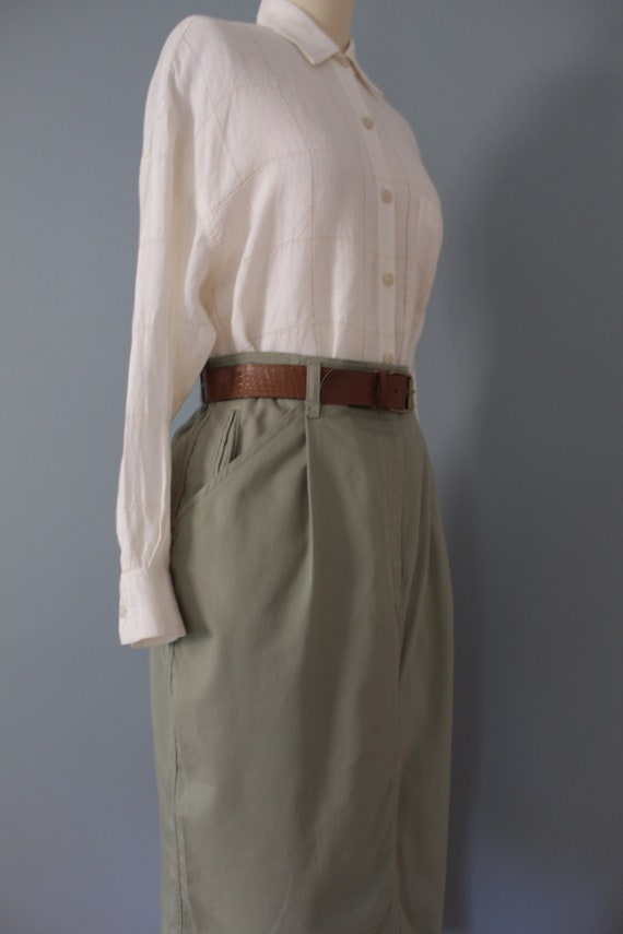 SAGE green maxi skirt | belted cotton skirt | 197… - image 5