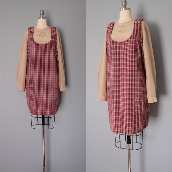 CRANBERRY red jumper dress | denim plaid dress | t