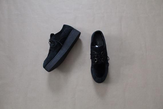 PLATFORM suede sneakers | black cowhide and leathe