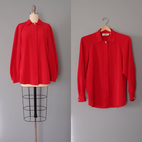 HOLLY red blouse | 1980s Christmas blouse | rhines