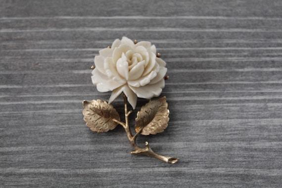 CREAM rose brooch | budding rose brooch | 1970s r… - image 1