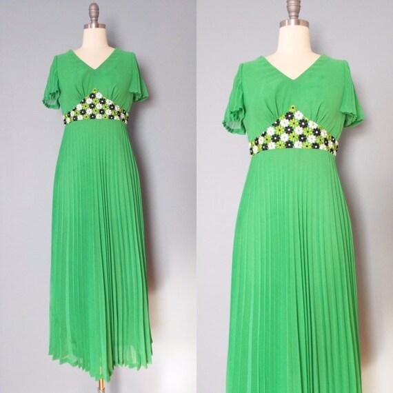 EMERALD maxi dress   1970s empire waist dress   em