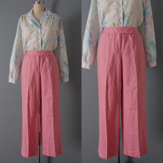 ROSE pink linen trousers   flared sailor pants   … - image 1
