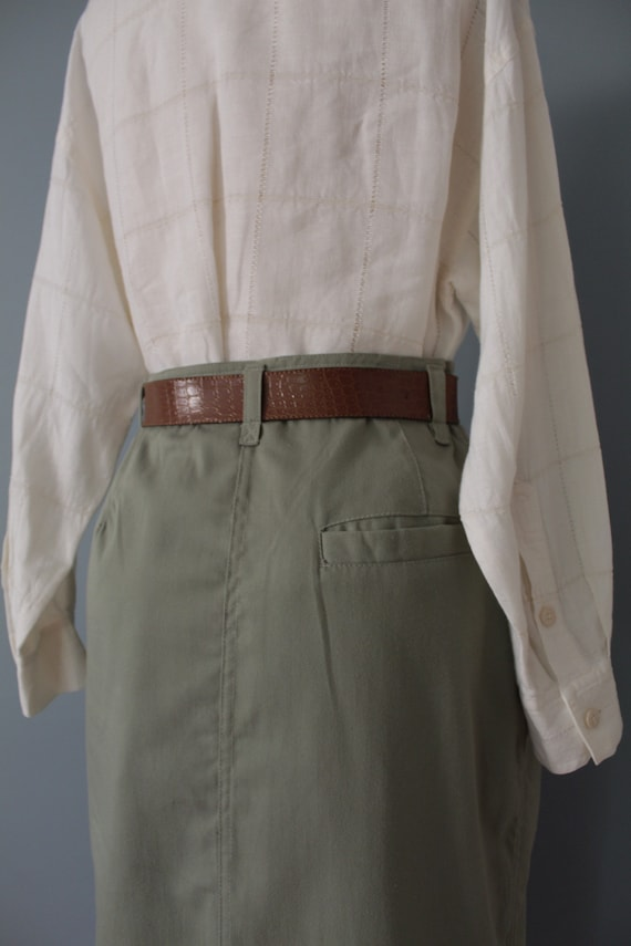 SAGE green maxi skirt | belted cotton skirt | 197… - image 9