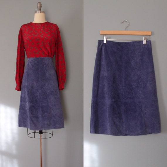 CLIO suede skirt | periwinkle blue suede skirt | 1