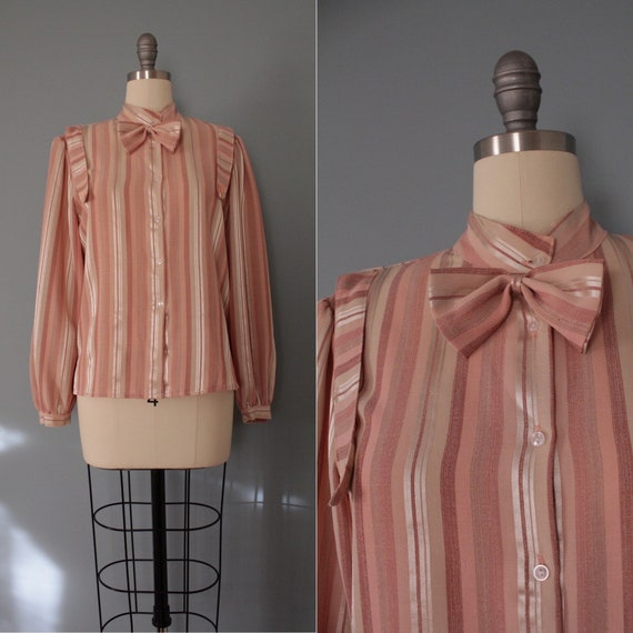 BOW poet blouse | 70s candy striped bow blouse | p