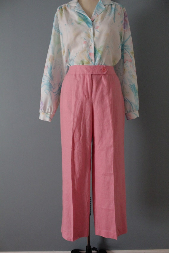 ROSE pink linen trousers   flared sailor pants   … - image 3