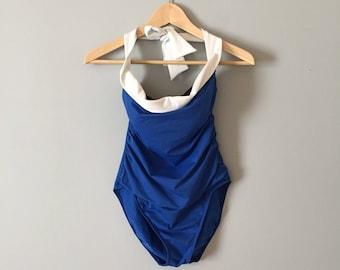 cobalt blue one piece swimsuit | white foldover halter straps maillot