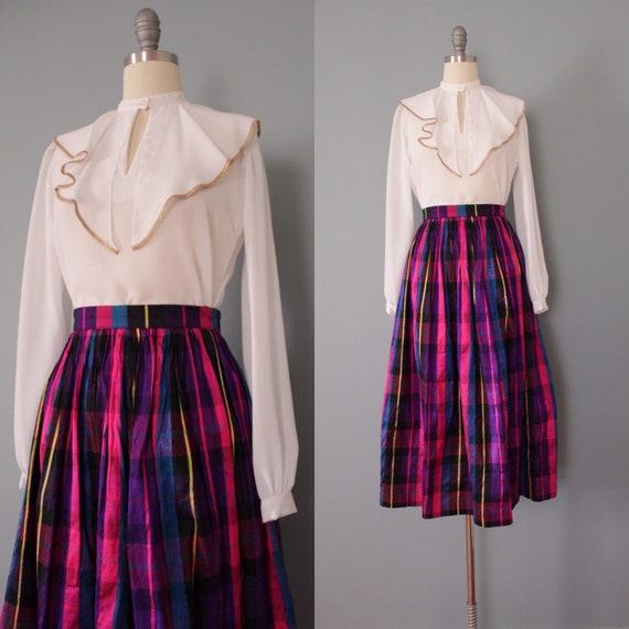 PLAID silk skirt | flounce full maxi skirt | raw s
