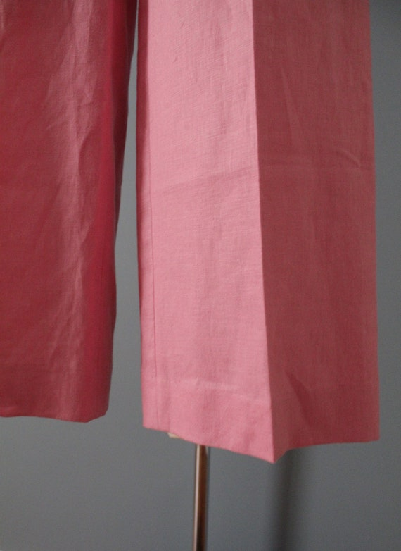 ROSE pink linen trousers   flared sailor pants   … - image 9