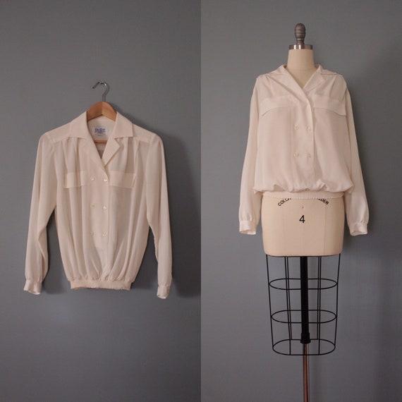 VANILLA white balloon blouse | elastic hip blouse