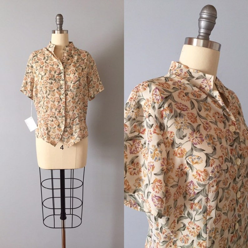 1940s inspired nipped waist top BOTANICAL cropped blouse