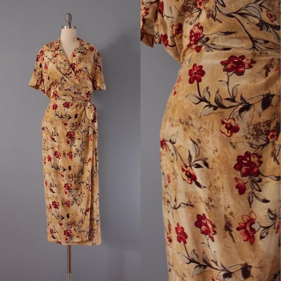 AUTUMNAL silk wrap dress | bow side maxi dress | s