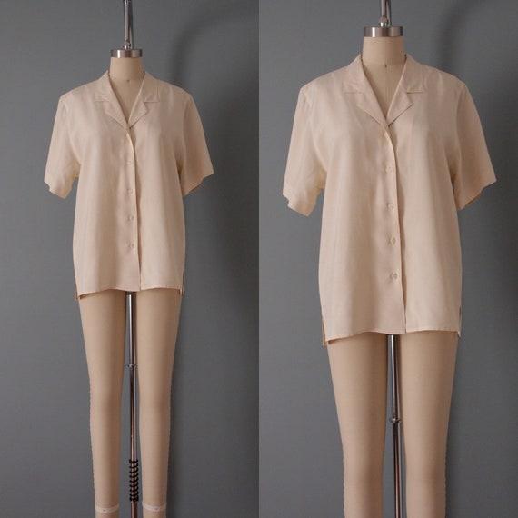VANILLA silk blouse | silk collared chemise | sho… - image 2