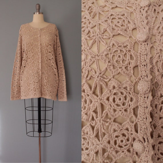 CROCHET beige cardigan | flower crochet cardi | be