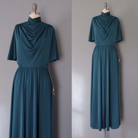 1970s caped gown | Sacramento green maxi gown | co